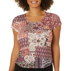 OneWorld Petite Casablanca Story Jeweled Scoop Neck Top