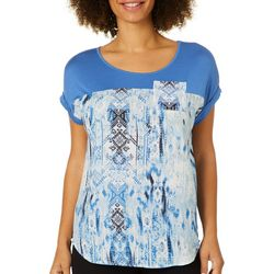 OneWorld Petite Transitional Weave Printed Pocket Top