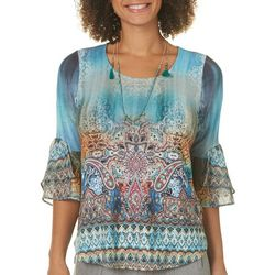 OneWorld Petite Worldly Weaving Paisley Bell Sleeve Top