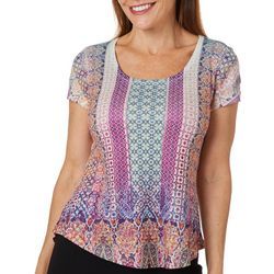 OneWorld Petite Embellished Mixed Geometric Scoop Neck Top