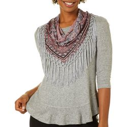 OneWorld Plus Floral Scarf & Heathered Solid Round Neck Top