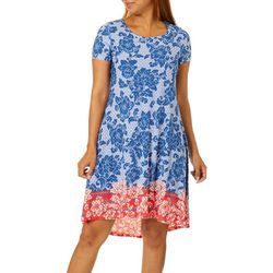OneWorld Petite Floral Print High-Low T-Shirt Dress