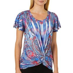 OneWorld Womens Paisley Stripe Embellished Twist Front Top