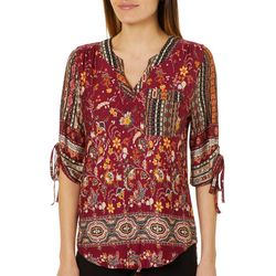 OneWorld Petite Mixed Media Floral Print Top