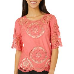 OneWorld Petite Crochet Short Sleeve Top