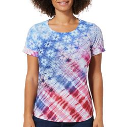 OneWorld Petite Embellished Tie Dye Americana Top