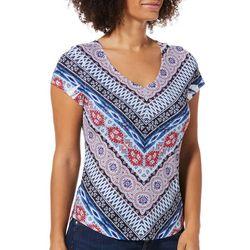 OneWorld Petite Embellished Ikat Print Americana Top