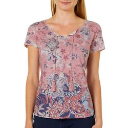 OneWorld Petite Adventure Abroad Paisley Short Sleeve Top