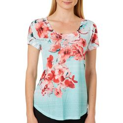 OneWorld Petite Corolly Blossoms Short Sleeve Top