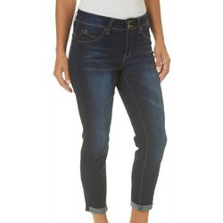 Royalty by YMI Petite Slimming Roll Cuff Denim Capris