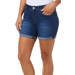 Royalty by YMI Petite Super Soft Roll Cuff Denim Shorts