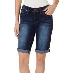 Royalty by YMI Petite Roll Cuff Denim Bermuda Shorts