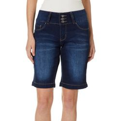 Royalty by YMI Petite Triple Button Denim Bermuda Shorts