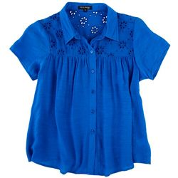 Tint & Shadow Petite Eyelet Yoke Button Down Top