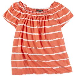 Tint & Shadow Petite Off The Shoulder Striped Tye Dye Top