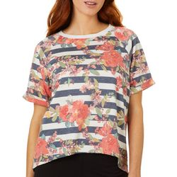 Leo & Nicole Petite Mixed Floral Stripe Short Sleeve Top