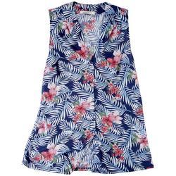 Lynn Ryan Petite Tropical Printed Sleevless Top