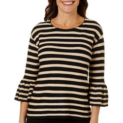 John Paul Richard Petite Striped Bell Sleeve Top