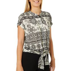 John Paul Richard Petite Floral Print Tie Front Top