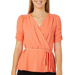John Paul Richard Petite Solid Faux Wrap Top
