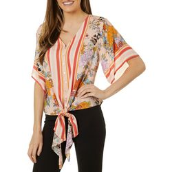 John Paul Richard Petite Floral Stripe Tie Front Top