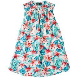 Cure Apparel Petite Tropical Printed Sleeveless Top