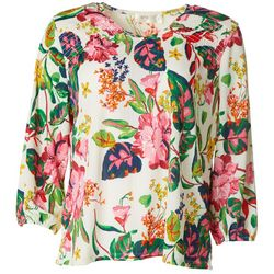Cure Apparel Petite Floral Long Sleeve Knit Tunic
