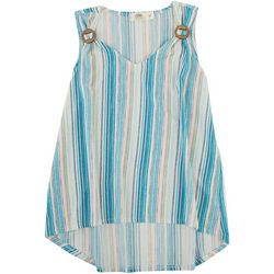 Cure Apparel Petite Striped Waffle Knit Sleeveless Top