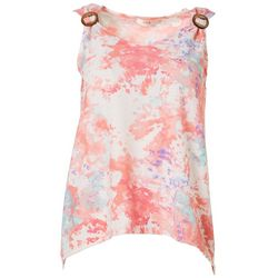 Cure Apparel Petite Tie Dye Embellished Sleeveless Top