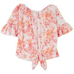 Cure Petite Tie Dye Long Off Shoulder Shirt
