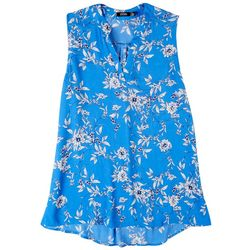Cure Apparel Petite Split Neck Floral Sleeveless Top