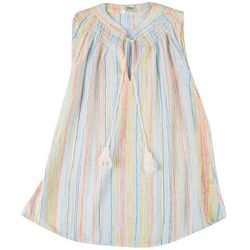 Cure Apparel Petite Multi Color Stripes Smocket Neck Top