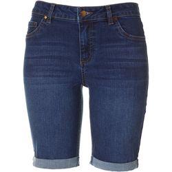 Petite High Waist Roll Cuff Bermuda Shorts