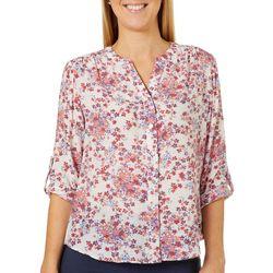 Zac & Rachel Petite Floral Button Down Roll Tab Sleeve Top