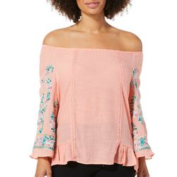 Zac & Rachel Petite Floral Embroidered Top
