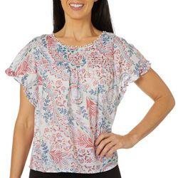 Zac & Rachel Petite Flutter Sleeve Floral Print Top
