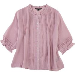 Zac & Rachel Petite Solid Ruffled Button Down Blouse