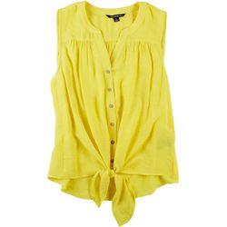 Zac & Rachel Petite Solid Tie Front Sleeveless Top