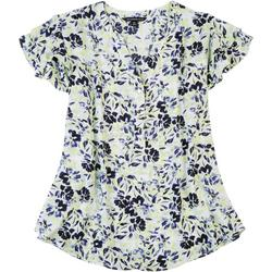 Petite Floral Ruffled Button Blouse