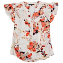 Petite Floral Ruffled Sleeved Blouse