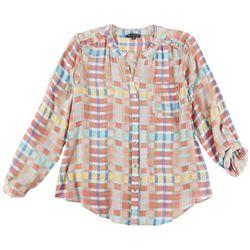 Zac & Rachel Petite Split Neck Water & Sun Shirt