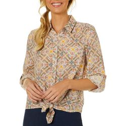 Zac & Rachel Petite Paisley Button Down Tie Front Top