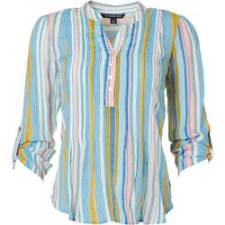 Zac & Rachel Petite Striped Button Placket Tie Front Top