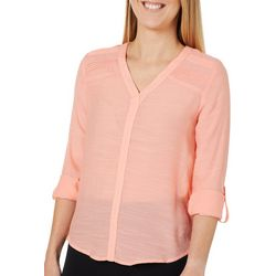 Zac & Rachel Petite Solid Pintuck Shoulder Roll Tab Top