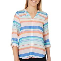 Zac & Rachel Petite Striped Pintuck Shoulder Roll Tab Top