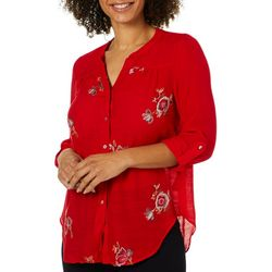 Zac & Rachel Petite Embroidered Floral Roll Tab Top