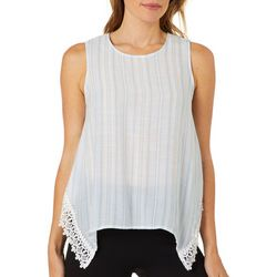 Zac & Rachel Petite Striped Lace Trim Sleeveless Top