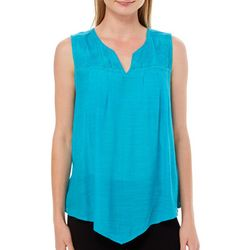 Zac & Rachel Petite Solid Floral Embroidered Sleeveless Top