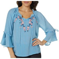 Zac & Rachel Petite Striped Embroidered Floral Tie Neck Top