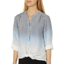 Zac & Rachel Petite Ombre Striped Button Down Top